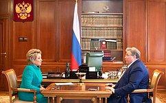 Председатель СФ В.Матвиенко встретилась сглавой Мордовии В.Волковым
