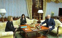 Состоялась беседа Председателя Совета Федерации В.Матвиенко сПрезидентом Республики Беларусь А.Лукашенко