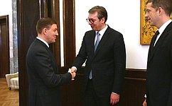 ВБелграде Президент Сербии принял делегацию российских сенаторов воглаве сА.Турчаком