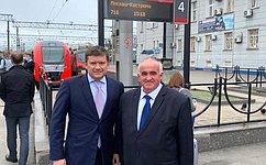 Н. Журавлев принял участие взапуске скоростного пассажирского электропоезда «Ласточка»
