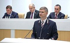 Глава РЖД О. Белозеров напленарном заседании Совета Федерации рассказал оработе ипланах развития российских железных дорог