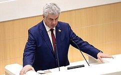 Комитет СФ пообороне ибезопасности рассмотрел 2019году вкачестве ответственного исполнителя 46 федеральных законов— В.Бондарев
