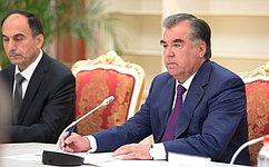 Председатель СФ В.Матвиенко встретилась вДушанбе сПрезидентом Таджикистана Э.Рахмоном