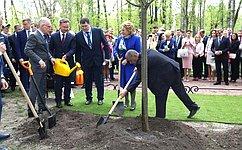В. Матвиенко приняла участие вакции попосадке деревьев врамках VIII Невского экологического конгресса