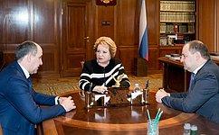 Председатель Совета Федерации В. Матвиенко иглава Карачаево-Черкесии Р. Темрезов обсудили вопросы экономического развития региона