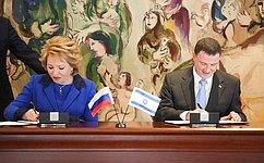 Совет Федерации иКнессет Израиля подписали Соглашение оразвитии межпарламентского сотрудничества