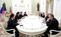 Председатель СФ приняла участие вовстрече Президента России сПредседателем Постоянного комитета ВСНП КНР вКремле