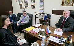 В. Федоров встретился спредставителями Молодежного парламента Республики Карелия