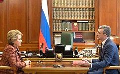 Состоялась встреча Председателя Совета Федерации В.Матвиенко сгубернатором Амурской области В.Орловым