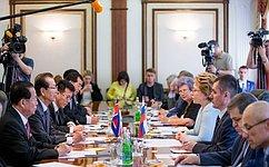 Председатель СФ В. Матвиенко провела переговоры сПредседателем Верховного Народного Собрания КНДР Цой Тхэ Боком