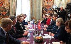В.Матвиенко: Российско-швейцарские отношения развиваются поступательно, динамично, вдухе учета интересов друг друга