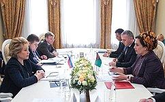 В. Матвиенко пригласила главу Меджлиса Туркменистана Г.Маммедову принять участие воII Евразийском женском форуме