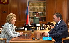 Председатель Совета Федерации В.Матвиенко провела встречу сврио губернатором Новгородской области А.Никитиным