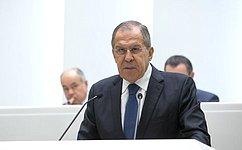 Министр иностранных дел РФ С.Лавров выступил вСовете Федерации врамках «правительственного часа»