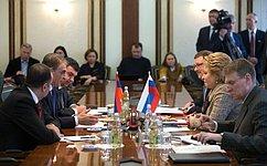 В.Матвиенко: Тесное взаимодействие России иАрмении осуществляется нетолько вэкономической, ноивгуманитарной сфере