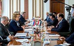 В.Матвиенко: Российские парламентарии готовы поделиться опытом сиракскими коллегами