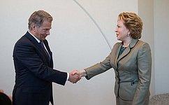Председатель Совета Федерации иПрезидент Финляндии обсудили перспективы развития двустороннего сотрудничества
