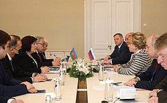 Отношения между Россией иАзербайджаном развиваются поступательно— В.Матвиенко
