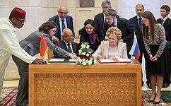 Совет Федерации иПалата советников Парламента Марокко подписали Меморандум овзаимопонимании