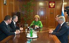 Председатель СФ В.Матвиенко игубернатор Калужской области А.Артамонов обсудили перспективы развития региона