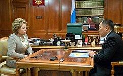 Председатель Совета Федерации В. Матвиенко провела встречу сГлавой Республики Тыва Ш.Кара-оолом
