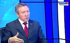 Олег Королев дал интервью ВГТРК «Липецк»
