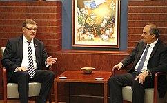 К. Косачев встретился сруководством Палаты представителей Республики Кипр