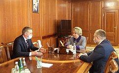 Председатель СФ В. Матвиенко встретилась сгубернатором Ненецкого автономного округа Ю.Бездудным