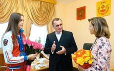 Н.Федоров встретился счемпионкой мира 2017года похудожественной гимнастике Е. Левановой