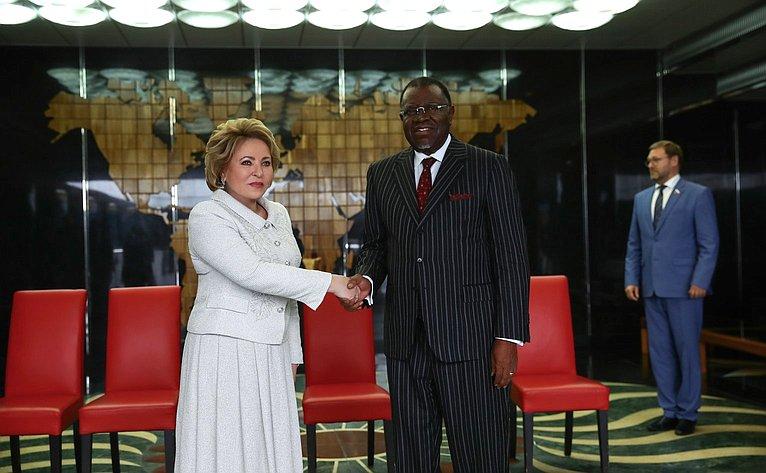 Встреча В. Матвиенко сПрезидентом Республики Намибии Хаге Готтфридом Гейнгобом