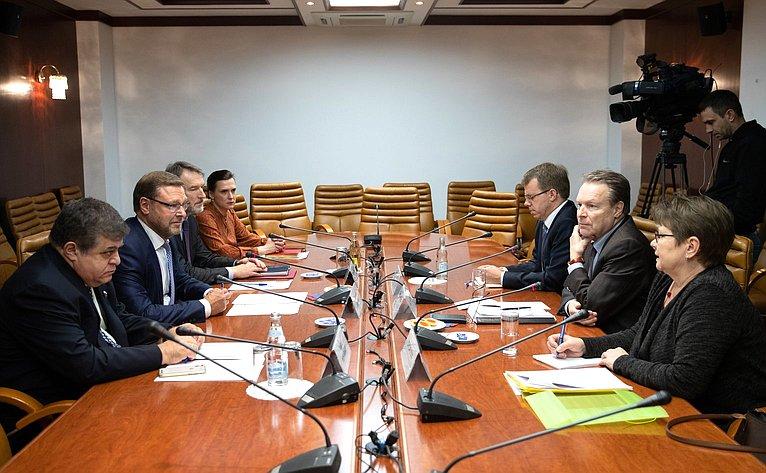 Встреча Константина Косачева соспециальным представителем Парламентской ассамблеи ОБСЕ Илккой Канервой