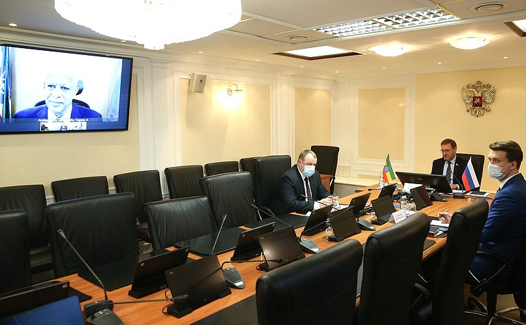 Встреча Константина Косачева сЧрезвычайным иПолномочным Послом Федеративной Демократической Республики Эфиопия вРоссийской Федерации Алемайеху Тегену