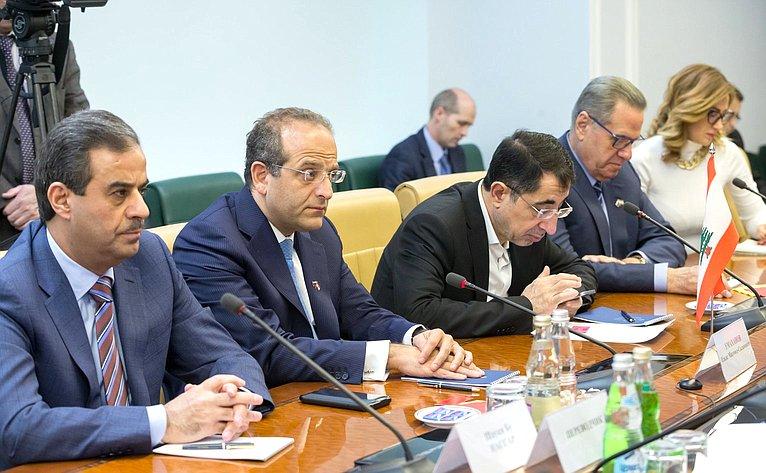 Встреча заместителя Председателя Совета Федерации Ильяса Умаханова сМинистром экономики иторговли Ливанской Республики, сопредседателем Межправительственной Российско-Ливанской комиссии поторговле иэкономическому сотрудничеству Родериком Хоури