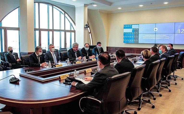 Встреча делегации Совета Федерации сПредседателем ЦИК Республики Казахстан Бериком Имашевым