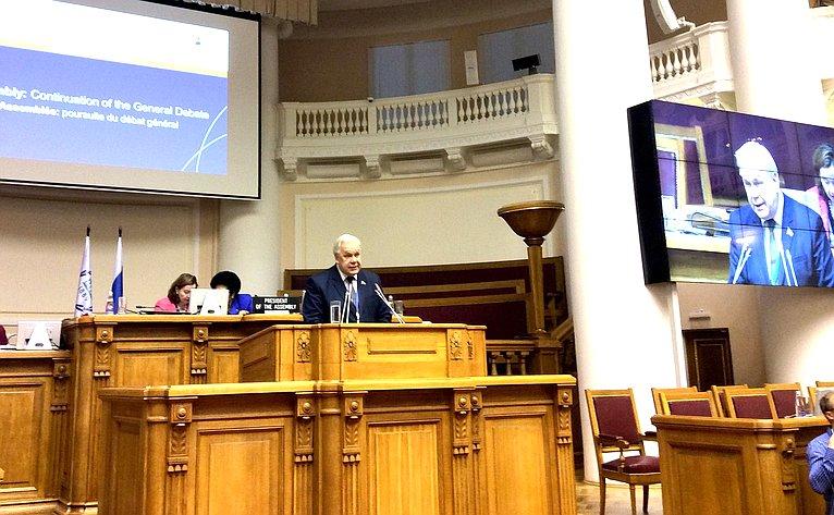 С. Попов выступил входе 137-й Ассамблее Межпарламентского союза отлица Межпарламентской Ассамблеи Православия