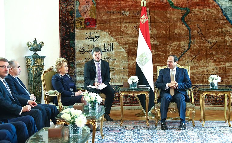 Встреча Председателя СФ Валентины Матвиенко сПрезидентом Египта Абдельфаттахом Сиси