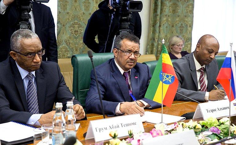 Встреча К. Косачева сглавой МИД Эфиопии Т. Адханом