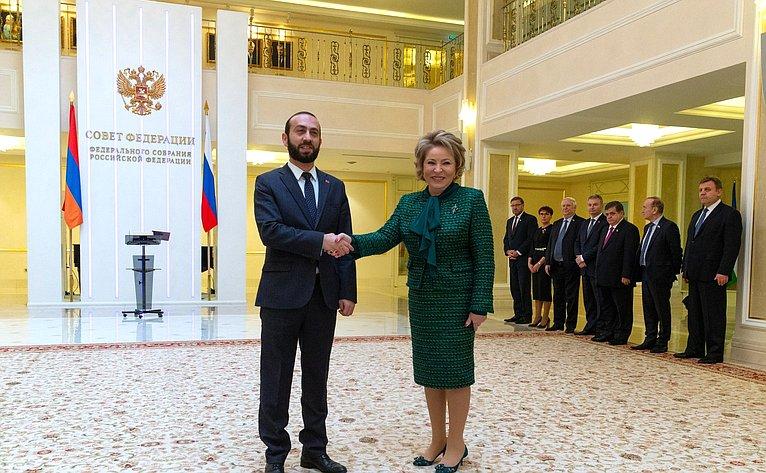 Встреча В. Матвиенко сПредседателем Национального собрания Республики Армения А. Мирзояном