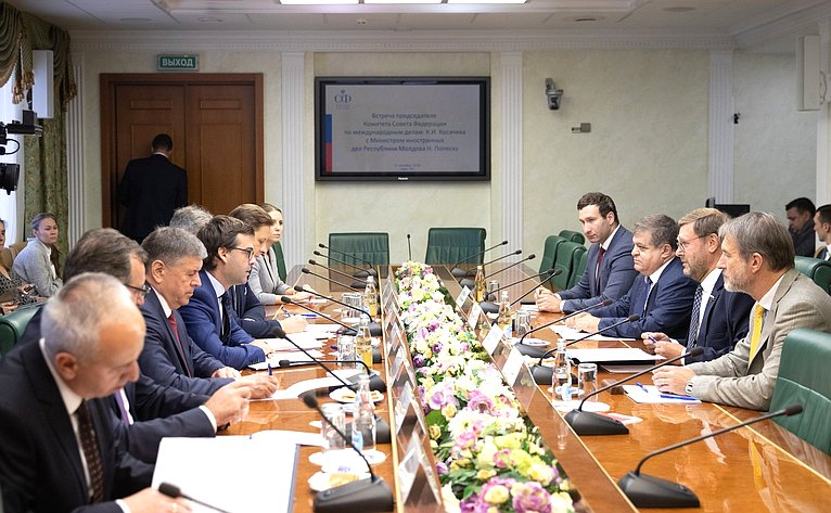 Встреча КонстантинаКосачева сМинистром иностранных дел Республики Молдова Н.Попеску