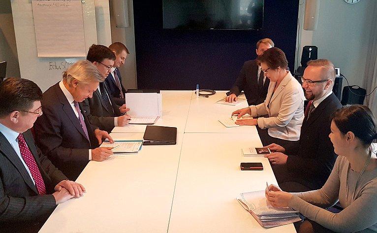 Делегация Совета Федерации посетила Парламент Финляндской Республики