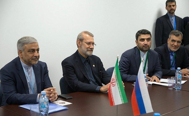 Встреча сПредседателем Собрания исламского совета Ирана А. Лариджани