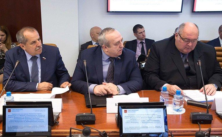 Совместное заседание Комитета СФ пообороне ибезопасности, Комитета СФ поэкономической политике иКомитета СФ пофедеративному устройству, региональной политике, местному самоуправлению иделам Севера