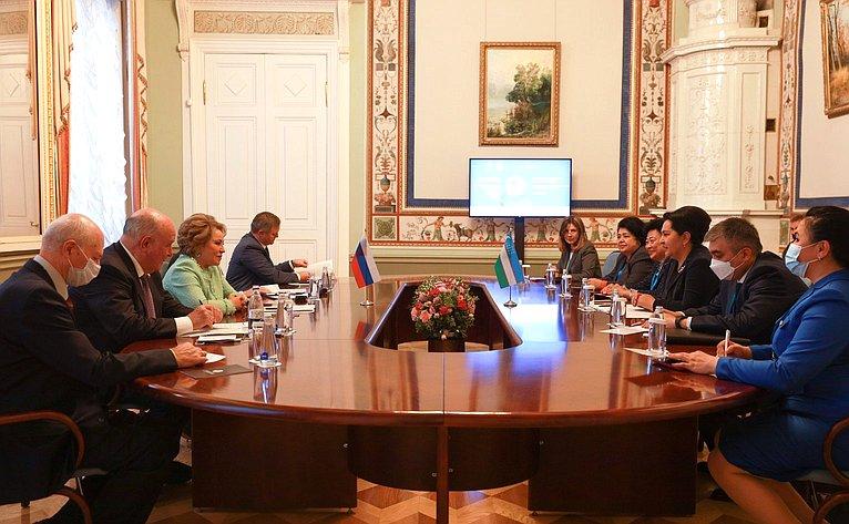 Встреча Председателя Совета Федерации Валентины Матвиенко сПредседателем Сената Олий Мажлиса Республики Узбекистан Танзилой Нарбаевой