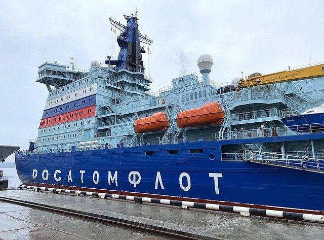 Татьяна Кусайко приняла участие вцеремонии прибытия головного универсального атомного ледокола «Арктика» впорт Мурманск