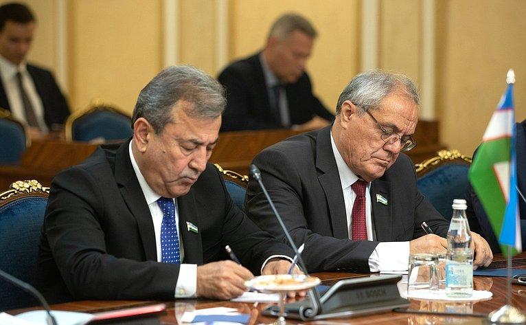 Встреча В. Матвиенко сПредседателем Сената Олий Мажлиса Республики Узбекистан Н. Юлдашевым