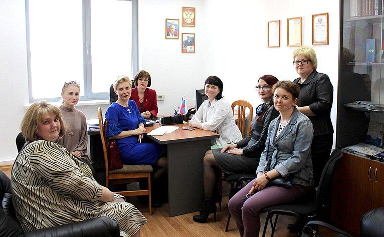 Е. Попова провела встречу спредставителями правления Волгоградского отделения Всероссийской организации родителей детей инвалидов