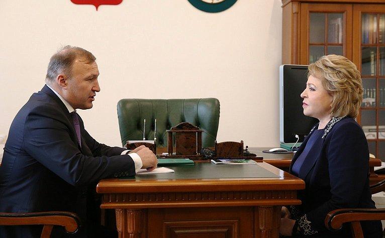 Встреча В. Матвиенко сврио республики Адыгея М. Кумпиловым