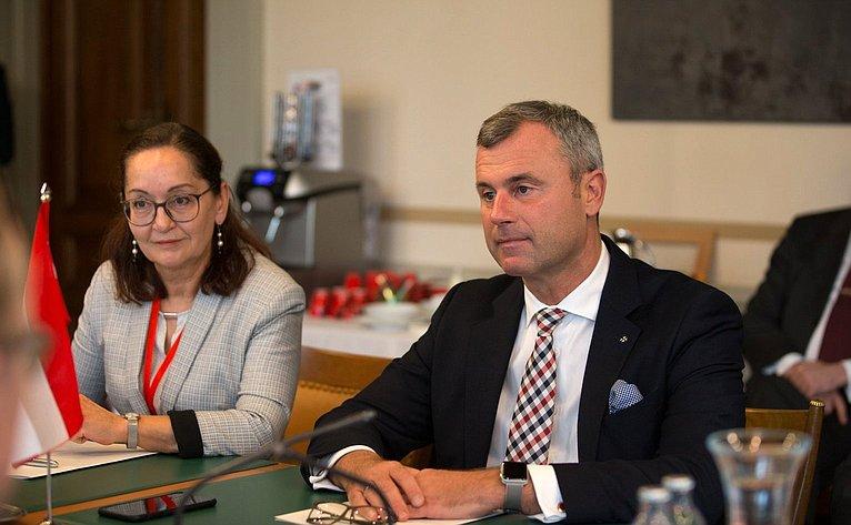 Встреча В. Матвиенко сзаместителем Президента Национального совета Парламента Австрийской Республики Н. Хофером