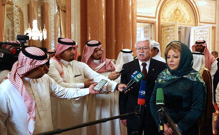 Брифинг В. Матвиенко поитогам встречи сПредседателем Консультативного совета Саудовской Аравии