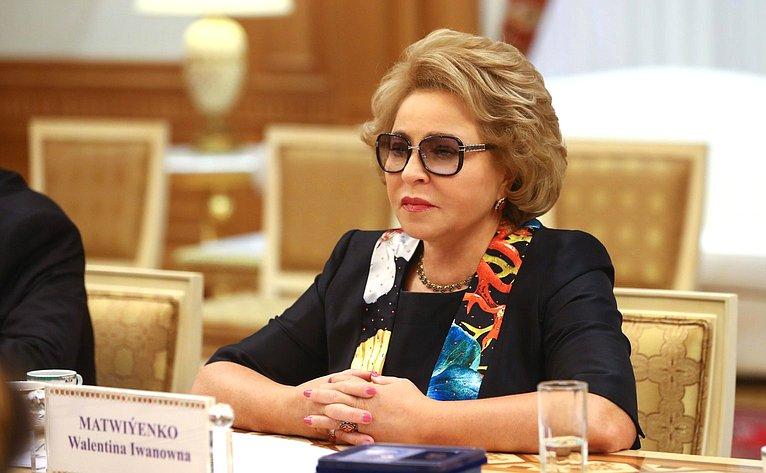 В. Матвиенко навстрече сПредседателем Меджлиса Туркменистана А.Нурбердыевой